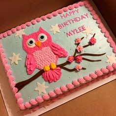 Owl cake done with buttercream decorations #sheetcakesdonthavetobeboring #sheetcakes #cakeart Owl Birthday Parties, Birthday Cake Girls, Owl Parties, 2nd Birthday, Birthday Ideas, Birthday Sheet Cakes, Owl Cupcake Cake, Owl Cupcakes, Girl Cakes