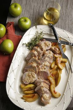 This dish is ideal for a fall dinner party, since the apples can be prepared ahead, and the pork cooks in 15 to 20 minutes.