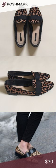 "Zara Trafaluc Leopard Loafers Zara Trafaluc leopard print Loafers. Soles show little wear. Size (38) 8. 3/4"" heel. Zara Shoes Flats & Loafers"