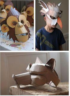 Cardboard Costume, Cardboard Mask, Cardboard Box Crafts, Cardboard Sculpture, Cardboard Paper, Paper Clay, Projects For Kids, Diy For Kids, Crafts For Kids