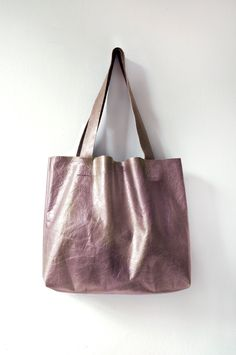 G R A P E Metallic Leather Tote. Essential Tote. Leather Market Tote.. $88.00, via Etsy.  -Hand painted in metallic purple/ gold, almost a rose-gold effect lightweight leather (inside brown leather).