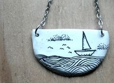 black and white series ink on polymer clay necklace by snooeisen, $17.00