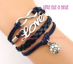 To Infinity and Beyond, Infinity Bracelet, Infinity Wish, Love, Soccer, Football, Navy Blue, Christmas, Bridesmaid, Friendship, Sisters Gift on Etsy, $4.99
