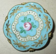 "Antique Victorian French Enamel Button - Large - 1 1/4"""