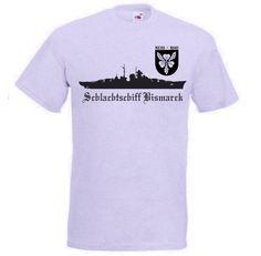 T-Shirt Schlachtschiff Bismarck in grau. Auf dem T-Shirt ist das berühmte deutsche Kriegsschiff Bismarck abgebildet. Mit Emblem / mehr Infos auf: www.Guntia-Militaria-Shop.de
