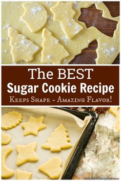 Best Sugar Cookie Recipe EVER for Christmas or any Holiday! Sugar Cookie Recipes, Sugar Cookie Recipe For Cookie Cutters, Cookie Recipes For Kids, Sugar Cookie Cups, Holiday Cookie Recipes, Homemade Sugar Cookies, Easy Butter Cookie Recipe, Best Sugar Cookies, Best Sugar Cookie Recipe For Decorating