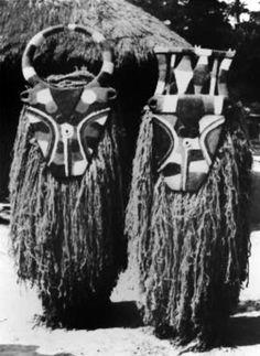 Africa | Bedu masqueraders and masks.  Nafana, Degawiile village. 1966. | © Rene Bravmann