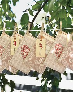 Hang guest favors from a clothes line.  This reminds me of Japan.  Not sure why but I really like the idea.