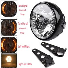 "Universal 7"" Motorcycle Headlight Amber LED Turn Signal Indicators With Bracket"