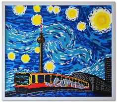 """Starry Night"" feat. Van Gogh- duct tape art by Ostap"