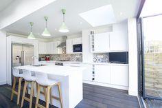 23 Ideas Kitchen Lighting Layout Side Extension For 2019 White Kitchen Stools, Diy Kitchen Island, Open Plan Kitchen, New Kitchen, Green Kitchen, Kitchen Tips, Kitchen Ideas, Kitchen Layouts, Distressed Kitchen