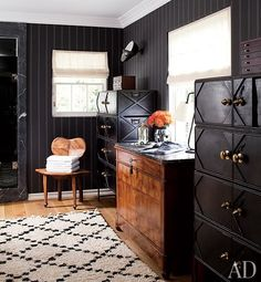 decorated actor Hank Azaria's Bel Air dressing room with a chair from Paul Marra Design and vintage lockers from Bourgeois Bohème. Black And White Decor, Decor, Closet Designs, Living Room Designs, Masculine Interior, Masculine Room, Interior Design, Home Decor, House Interior