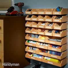 DIY Hardware Organizer - Workshop Solutions Projects, Tips and Tricks - Woodwork, Woodworking, Woodworking Plans, Woodworking Projects Workshop Storage, Tool Storage, Garage Storage, Car Storage, Diy Workshop, Storage Boxes, Storage Systems, Garage Shelf, Toy Boxes