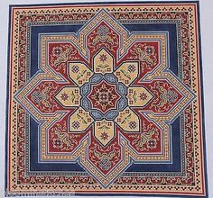 CanvasWorks PO94 Bakhtiari Medallion 18m Hand Painted Needlepoint Canvas