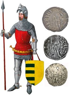 Radu I Voivode of Wallachia XIVth century - reconstruction based on coins and historical records Medieval Knight, Medieval Armor, The Game Book, Late Middle Ages, Arm Armor, Medieval Clothing, Book Projects, 14th Century, Captain America