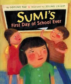 """Ages 3 and up The first day of school can be lonely and scary, especially when you don't speak the same language as everyone else. Sumi only knows one phrase in English, """"Hello, my name is Sumi."""" This doesn't seem nearly enough to prepare her for a big school with wide stairs, noisy children, and a mean classmate."""