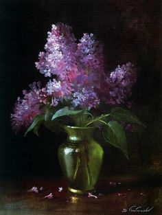 For my Nana - By artist Serguei Toutounov. Black Canvas Paintings, Watercolor Paintings, Canvas Art, Lilac Painting, Still Life Flowers, Art Floral, Still Life Art, Pastel Art, Abstract Flowers