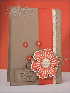 handmade card ... kraft with Calypso Coral ... great color combo ... good card design ... Stampin' UP!