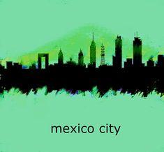Mexico City Skyline 2 by Enki Art Skyline 2, City Skylines, Mexico City, Cities, Wall Art, City, Wall Decor, Mexico