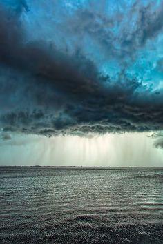 Rain Storm Clouds Over Ocean