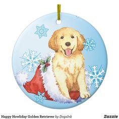 Happy Howliday Golden Retriever Ceramic Ornament