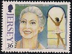 Dame Margot Fonteyn de Arias, ( 1919 – 1991), English ballerina . Ballet stamp from Jersey.
