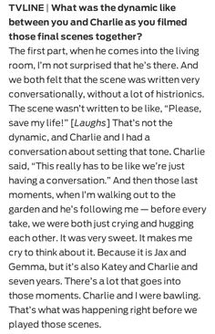 This is what Katey Sagal (Gemma) told on the interview, so touching!