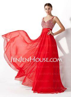 Prom Dresses - $146.99 - A-Line/Princess V-neck Andar de comprimento Chiffon  Charmeuse Prom Dresses com Preguear  Beading (018005105) http://jenjenhouse.com/pt/A-line-Princess-V-neck-Andar-De-Comprimento-Chiffon--Charmeuse-Prom-Dresses-Com-Preguear--Beading-018005105-g5105