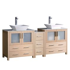 Fresca Torino 72-inch Light Oak Modern Double Sink Bathroom Cabinets with Tops and Vessel Sinks (Torino 72 Light Oak Cabinets w/ Top & Vessel Sink), Tan, Size Double Vanities