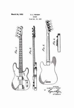 USA Patent Fender Precision Bass Guitar - 3 Drawingss
