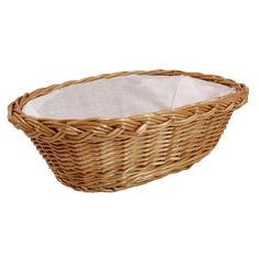 """Wiklinowy koszyk """"BREAD"""" wyściełany materiałem (biały)"""
