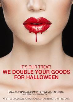Take advantage of our #Halloween #promo! Online only at Annabelle.com  *Offer ends November 1st. // Alerte promo! Pour l'Halloween, on double vos achats! En ligne seulement sur Annabelle.com jusqu'au 1er novembre 2015. #BOGO November 1st, Free Items, Halloween, Promotion, Shopping, Spooky Halloween
