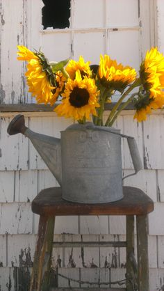 Antique Metal Watering Can with Moveable Handle by OldHouseChic, $25.00