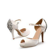 676595cb8f43f   54.99  Femme Crystal Sandals Satin Printemps été Doux Chaussures à Talons  Talon Aiguille Bout ouvert Cristal Noir   Beige   Bleu   Mariage   Soirée  ...