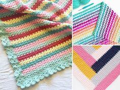 Easy V-Stitch Ideas Free Resources Crochet Ripple, Single Crochet Stitch, Free Crochet, Crochet Squares, Crochet Baby, Crochet Blanket Patterns, Crochet Stitches, Stitch Patterns, Crochet Blankets
