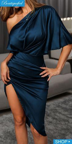 Solid One Shoulder Asymmetrical Dress - Dress - Elegant Dresses Classy, Classy Dress, Classy Outfits, Chic Outfits, Elegant Outfit, Pretty Dresses, Beautiful Dresses, Classy Short Dresses, Long Dresses