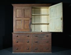 Pine Housekeepers Cupboard in the Original Paint SOLD Mark Davis, Antique Interior, Housekeeping, China Cabinet, Pine, Drawers, Cupboards, The Originals, Dresser