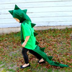 T-Rex costume for Halloween! pull arms into sleeves to make tiny dino arms. wear green legs.