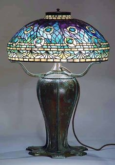 "18"" Peacock leaded Glass Tiffany Lamp shade #1472 and bronze urn base #1455"