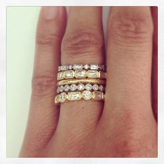 Interesting....always loved stack o' rings...but gold and silver mixed bands...hmmm.
