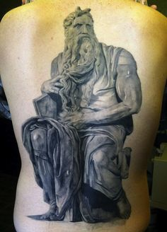 "Ken Kile is the artist behind this awesome ""Moses"" back piece"