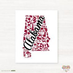 Troy, Alabama Landmark State Giclée Map Art Print - 8x10 - Graduation Gift Idea - Dorm Decor