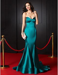 TS Couture Formal Evening Dress - Jade Trumpet/Mermaid Sweetheart Court Train Stretch Satin 2016 - $79.99