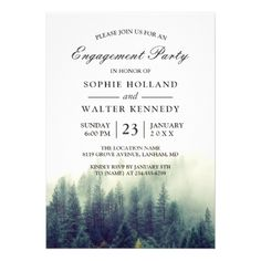 #elegant - #Pine Tree Forest Wedding Shower Engagement Party Card