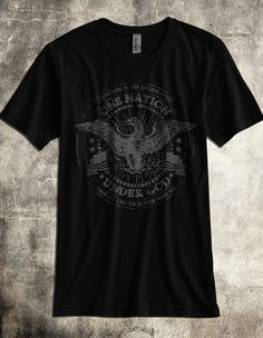 """""""One Nation Under God"""" - Black Poly-Cotton Patriotic Shirt for Men ~ Inspired by 1 Chronicles 29:11 ~ This ultra-soft, vintage-style patriotic tshirt is stylish, fashionable and slim-cut ~ A fantastic Christian gift idea for him (or her)."""