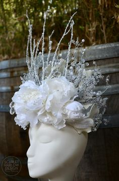 White queen crown - good witch - snow queen - pageant - runway - photoshoot - costume by ScarletHarlow on Etsy