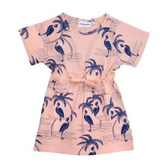 Soft pink dress from Mini Rodini with Heron allover print in blue. Round neck, short sleeves, tunnel at waist with cord and two stitched pockets at front. Fashion Kids, Little Girl Fashion, Fashion Room, Toddler Fashion, Kid Styles, Mode Inspiration, Kids Wear, Rodin, Kids Outfits