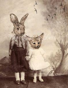 Anthropomorphic Foxes | Anthropomorphic vintage photograph, fox and rabbit kids, surreal ...