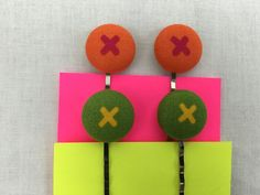 X's Covered  Button Bobbypins Set, Hair Clips, Hair Pins, Barrettes by NancyPKdesigns on Etsy