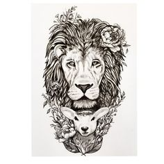 "Pen and Ink Tattoo design of ""The Lion and Lamb. By:Sandy Chapin"